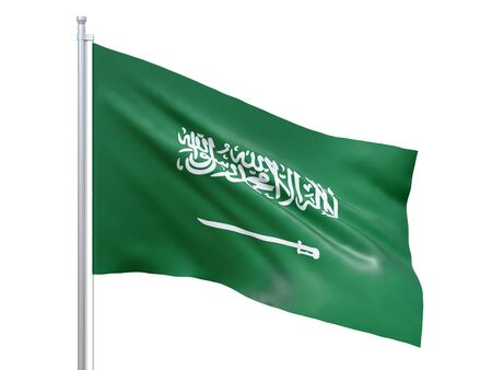 Saudi Arabia flag waving on white background, close up, isolated. 3D render