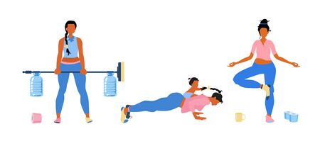 Housewife wearing different socks do fitness and gym exercises at home. Sport with child. Improvised dumbbell or barbell. Bottles of water instead kettlebell. Isolated on white flat vector. Çizim