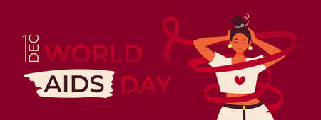 World AIDS Day on 1 December. HIV infected woman twisted by the red awareness ribbon. Banner or poster to support AIDS survivor people and for preventin the decease.