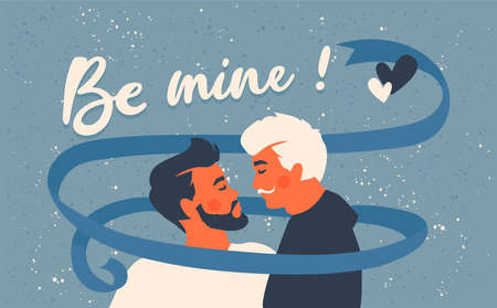 Male gay couple.Two kissing men. Be mine! Text. Lgbtq + and romantic love concept. Homosexual greeting card for Valentine's Day. Blue ribbon. Ilustrace