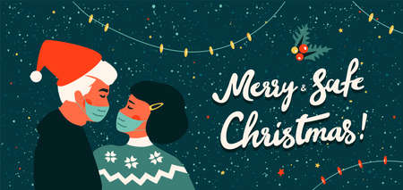 Loving kissing couple wearing protective face mask. Merry and Safe Christmas during coronavirus pandemic. Covid-19 and new normal concept. Husband in Santa hat. Wife in winter sweater. Greeting card.