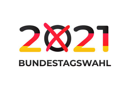 Bundestagswahl 2021 in Germany. Federal election for the 20th Bundestag on 26 September. Isolated on white background. Stock vector illustration.