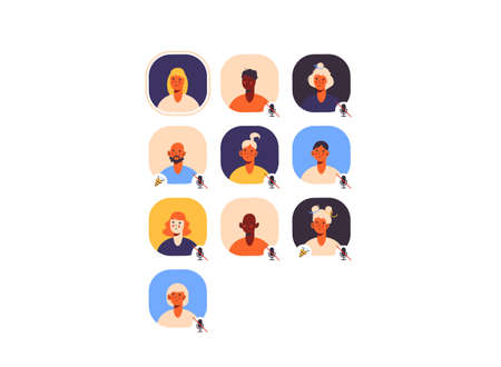 Clubhouse app. Member's avatars. Speaker and listeners. Online communication. Audio chat with voice mesages. Diversity of multicultural and multi-ethnic people. Isolated on white background vector.