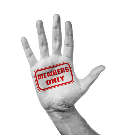 only members: Male Hand With Stamp Members Only, Isolated Over White