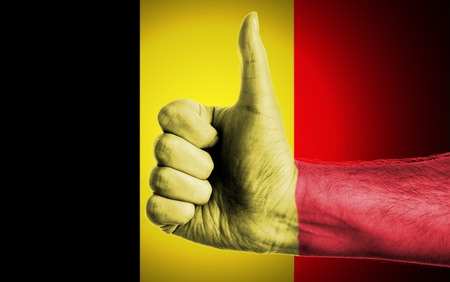 Flag Of Belgium Painted On A Man photo
