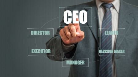 executor: Businessman Pressing Virtual Screen. Responsibilities Of Chief Executive Officer