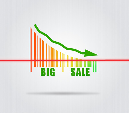 Big Sale - Conceptual Illustration With Arrow And Colorful Barcode illustration