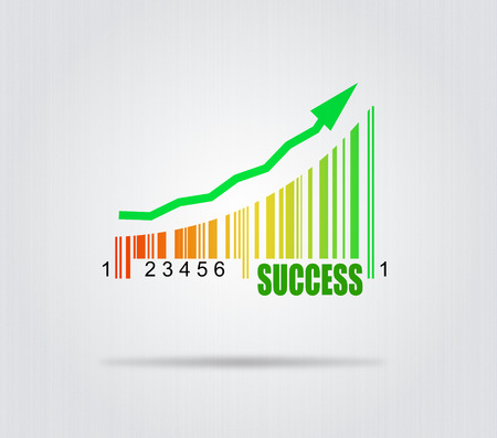Success - Conceptual Illustration With Arrow And Colorful Barcode illustration