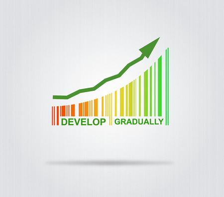 gradually: Develop Gradually - Conceptual Illustration With Arrow And Colorful Barcode Stock Photo