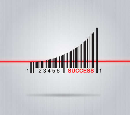 up code: Success - Conceptual Illustration With Arrow And Colorful Barcode