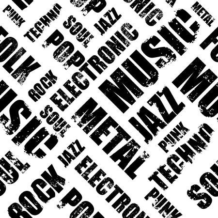 genres: Seamless Words Cloud Of Various Music Genres Stock Photo