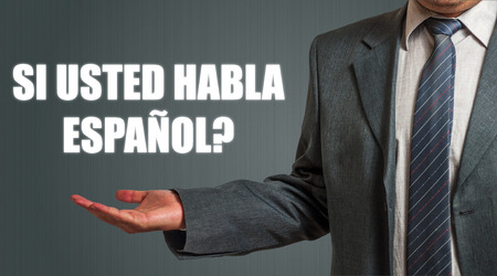 spanish language: Business man Presenting Spanish Language Question