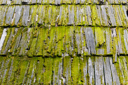 Old wood mossy shingles on a roof of a house Stock Photo