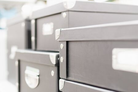 Storage box with lids and metal corners. Closeup view, storage concept Imagens