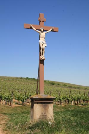 Statue of Jesus in vineyard in Alsace France
