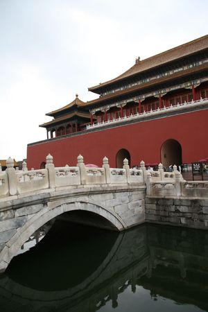 Bridge over golden river in Forbidden City Beijing Stock Photo - 1744314