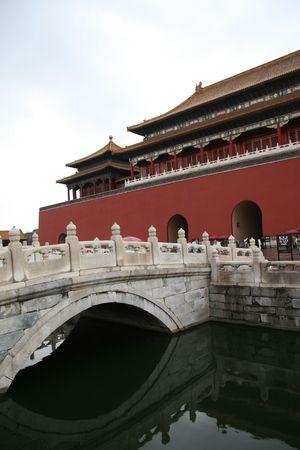 Bridge over golden river in Forbidden City Beijing Stock Photo - 1744314