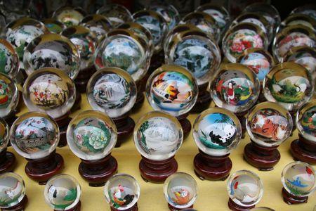 bolls: Glass bolls in Chinese souvenir shop near Great Wall