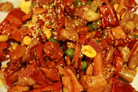 typical: Chicken with cashew nuts, typical Chinese dish