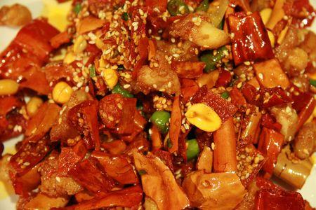 Kip met cashewnoten, typische Chinese schotel Stockfoto