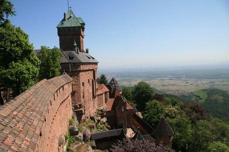 Kasteel van Haut-Koenigsbourg in de Elzas Stockfoto