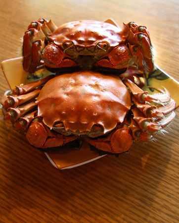 china cuisine: Crabs on a plate
