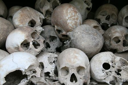 Skulls in Choeng Ek genocide memorial in Phnom Penh, Cambodia