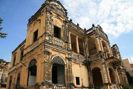 Koloniaal gebouw in Phnom-Penh Cambodja Stockfoto