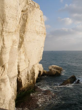 hanikra: Chalk cliffs at Rosh Hanikra in Israel Stock Photo