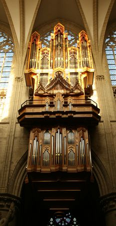 Organ in Brussels Cathedral Stock Photo