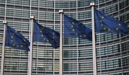 Europese vlaggen in Brussel Stockfoto