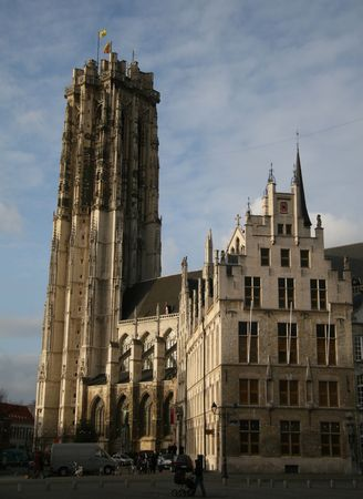 flanders: Saint Rumboldts cathedral in Mechelen, Flanders, Belgium Stock Photo