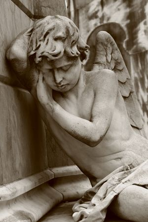 Mourning angel at Recoleta cemetery in Buenos Aires