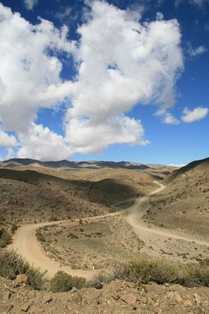 dirtroad: Landscape near Villavicencio, Mendoza, Argentina Stock Photo