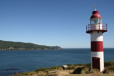 Lighthouse on the coast in Valdivia, Chile Stock Photo