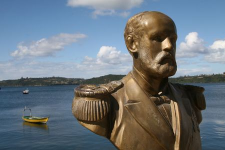 arturo: Statue of Arturo Prat, the favourite Chilean national hero, in the harbour of Chonchi, Chiloé island. Arturo Prat was a captain of the Chilean navy who died in the Battle of Iquique in 1879, in the war against Peru.