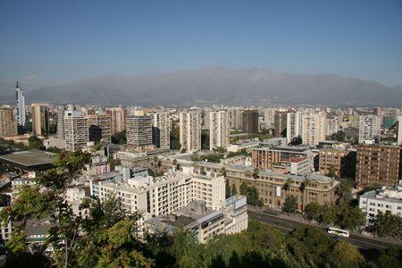 Panorama op de moderne Santiago de Chile, de hoofdstad van Chili  Stockfoto
