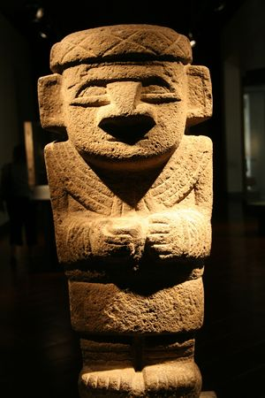art museum: Precolumbian statue in the Precolumbian Art Museum in Santiago de Chile