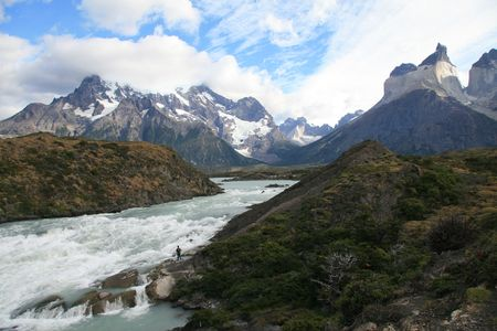 paine: River in Torres del Paine national park in Chilean Patagonia