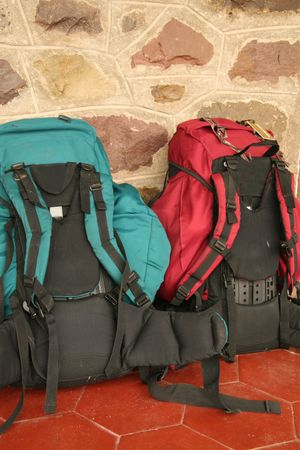 lugagge: Two backpacks standing against a wall
