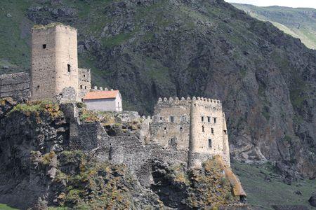 caucasus: Fortress of Khertvisi near the cave city of Vardzia in Georgia (Caucasus) Stock Photo