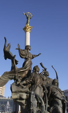 Statues on the Indepence Square in Kiev, capital of Ukraine