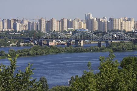 dnieper: Skyline of Kiev at the Dnieper river in summer Stock Photo