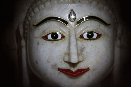 jainism: Face of a marble statue in a Jain temple in Jaisalmer, in the Indian province of Rajasthan .