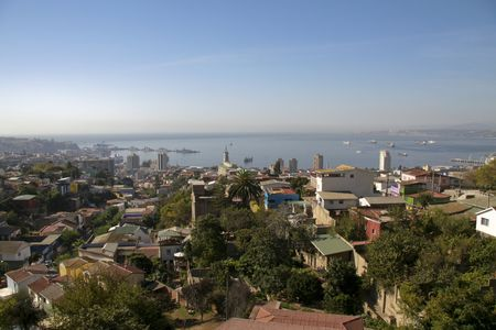 Aerial view on the port city of Valparaiso, Chile Stock Photo - 3944344