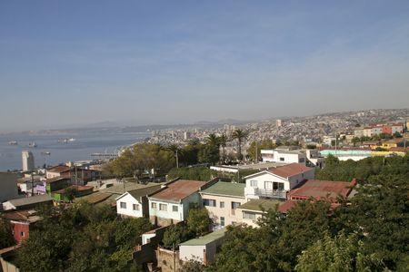 valparaiso: Aerial view on the port city of Valparaiso, Chile