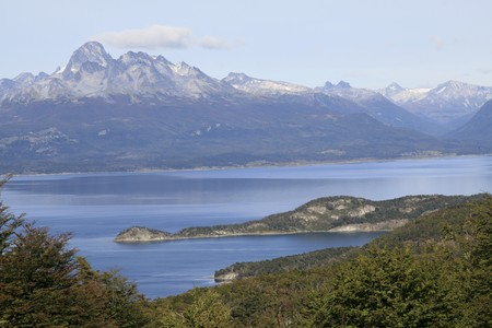 tierra: View on the Beagle Channel in National Park Tierra del Fuego in Ushuaia, Argentina