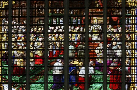 dogma: Leaded glass window in the Saint Rumboldts cathedral of Mechelen, Belgium. The window dep�cts the annunciation of the reading of the dogma of the immaculate conception of Maria and was fabricated in Mechelen in 1860 Stock Photo