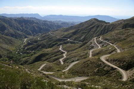 hairpin: Hairpin bends in the Andes Mountains near Mendoza, Argentina