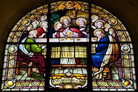 last supper: Stained Glass of the Last Supper in the cathedral of Salta (Argentina). Stained glass was made in 1914 Stock Photo